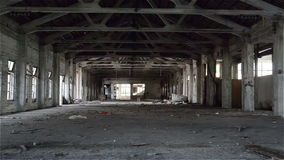 Empty industrial loft in an architectural background with bare cement walls, floors and pillars stock footage