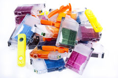 Empty Inkjet Printer Ink Cartridges. Colorful pile of inkjet printer ink cartridges empty and ready for recycling Stock Photography