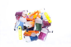 Empty Inkjet Printer Ink Cartridges. Colorful pile of inkjet printer ink Stock Image