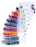 Empty Inkjet Printer Ink Cartridges. Colorful inkjet printer cartridges empty, ready for recycling and arranged in a spiral Royalty Free Stock Photo