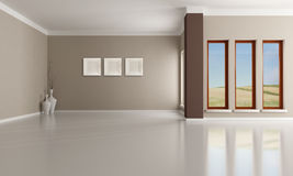 Empty interior. Empty brown and beige  modern interior - rendering -the  image on background is a my photo Stock Photo