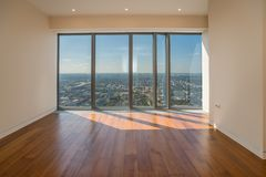 Empty  interior apartment with panoramic city view. Empty  interior apartment with panoramic city view Stock Photography