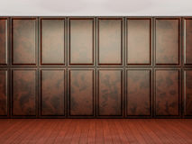 Empty interior background, room with brown wood paneling wall an Stock Photo