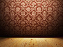 Empty interior with beautiful wallpaper Stock Images