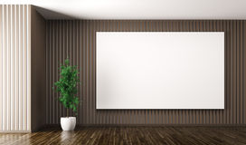 Empty interior with big poster on the wall 3d render Royalty Free Stock Photography