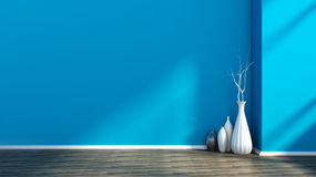 Empty interior with a blue wall and vase Royalty Free Stock Photos