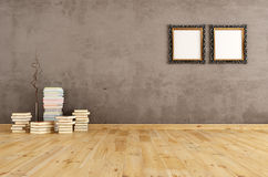 Empty interior with books on a wooden floor Royalty Free Stock Images