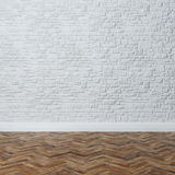 Empty Interior - Brick Wall With Decorative Stone And Hardwood Royalty Free Stock Images