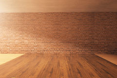 Empty interior with brick wall. Empty interior design with wooden floor, red brick wall and concrete ceiling. Mock up, 3D Rendering Royalty Free Stock Photos