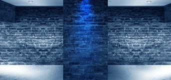 Empty interior with brick walls, arches of light from the window. 3D Rendering royalty free illustration