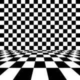 Empty interior with checkered marble floor. Space for messages Stock Images