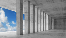 Empty interior with concrete columns, 3d illustration Stock Image