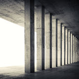 Empty interior with concrete walls and columns, 3d Stock Photo