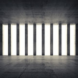 Empty interior and concrete walls and columns, front view. Abstract architecture background, empty interior and concrete walls and columns, front view. 3d Stock Image