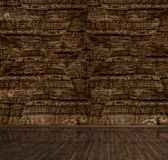 Empty interior 3d render. Empty interior of living room, brown paneling wall and hardwood flooring 3d render Royalty Free Stock Photography