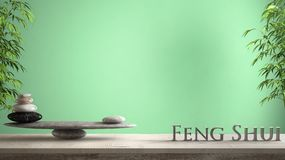 Empty interior design concept zen idea, wooden vintage table or shelf with marble stone balance and 3d letters making the word fen. G shui over green background stock images