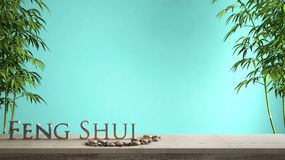 Empty interior design concept zen idea, wooden vintage table or shelf with pebble balance, green bamboo and 3d letters making the. Word feng shui over turquoise royalty free stock image