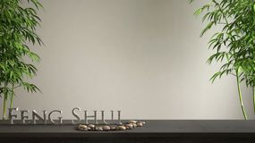 Empty interior design concept zen idea, wooden vintage table or shelf with pebble balance, green bamboo and 3d letters making the. Word feng shui over blank stock photo