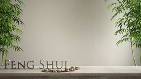 Empty interior design concept zen idea, wooden vintage table or shelf with pebble balance, green bamboo and 3d letters making the. Word feng shui over blank royalty free stock photos
