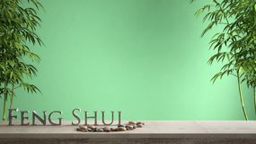 Empty interior design concept zen idea, wooden vintage table or shelf with pebble balance, green bamboo and 3d letters making the. Word feng shui over green royalty free stock photo