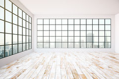 Empty interior. Design with dark frames windows, city view, aged wooden floor, concrete walls and ceiling. 3D Rendering Royalty Free Stock Image