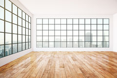 Empty interior design. With dark frames windows, city view, wooden floor, concrete walls and ceiling. 3D Rendering Royalty Free Stock Photos