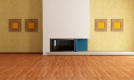 Empty interior with fireplace. Empty modern interior with minimalist fireplace - rendering Royalty Free Stock Images