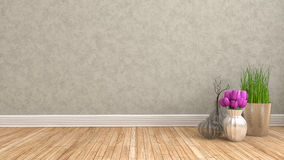 Empty interior with flower. 3d illustration Royalty Free Stock Photo