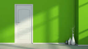Empty interior with a green wall and vase Royalty Free Stock Photos