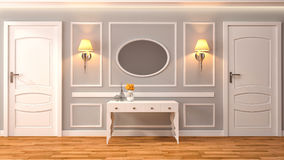 Empty interior with lamp included. 3d illustration Royalty Free Stock Image