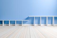 Empty interior light blue room white white shelf and wooden floo Stock Photos