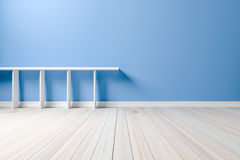 Empty interior light blue room white white shelf and wooden floo Royalty Free Stock Image