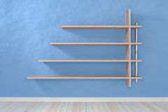 Empty interior light blue room white white shelf and wooden floo. R, For display of your products.  - 3D render image Royalty Free Stock Photos