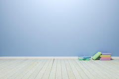 Empty interior light blue room with wooden floor and books, For Royalty Free Stock Images