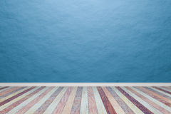 Empty interior light blue room with wooden floor, For present yo Stock Photos