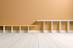 Empty interior light brown room white white shelf and wooden flo Royalty Free Stock Images