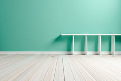 Empty interior light green room white white shelf and wooden flo Royalty Free Stock Image