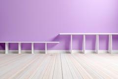 Empty interior light purple room white white shelf and wooden fl Stock Photo