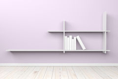 Empty interior light purple room witch white shelf and wooden fl Royalty Free Stock Photos
