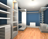 Empty interior  modern room for walk in closet Stock Photos