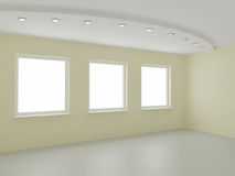 Empty interior, new room, office or residential. Clipping path for windows included, 3d illustration Royalty Free Stock Images
