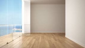 Empty interior with parquet floor and big panoramic terrace. Sea ocean panorama with blue sky in the background. Eco house interio. R design royalty free illustration