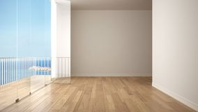 Empty interior with parquet floor and big panoramic terrace. Sea ocean panorama with blue sky in the background. Eco house interio. R design stock illustration