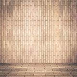 Empty interior perspective with brick tile wall stock illustration