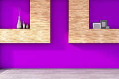 Empty interior with a purple wall and vases Royalty Free Stock Image