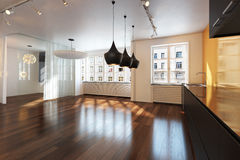 Empty Interior Residence With Hardwood Floors . Stock Photos