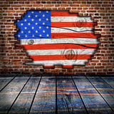 Empty interior room with american flag colors. Ready for product montage Royalty Free Stock Photography