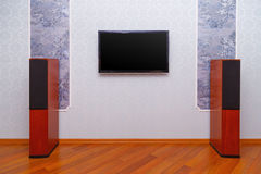 Empty interior of room. With TV and speakers Stock Image