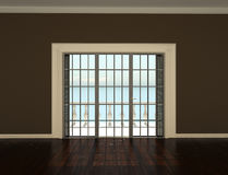 Empty interior room with windows to the terrace. Empty interior room with beige walls and windows to the terrace Royalty Free Stock Photography