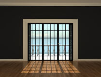 Empty interior room with windows to the terrace Royalty Free Stock Photo
